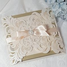 Champagne, cream and gold luxury laser cut wedding invitations, blush ribbon and diamante, spring wedding ideas Royal Wedding Invitation, Wedding Invitation Samples, Laser Cut Wedding Invitations, Wedding Stationary, Laser Cut Invitation, Invitation Ideas, Quince Invitations, Quinceanera Invitations, Invitations Online