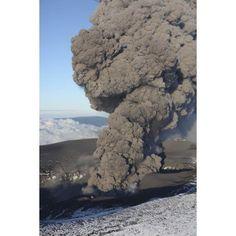 Aerial view of ash cloud eruption from Eyjafjallajokull Volcano Iceland Canvas Art - Richard RoscoeStocktrek Images (12 x 18)