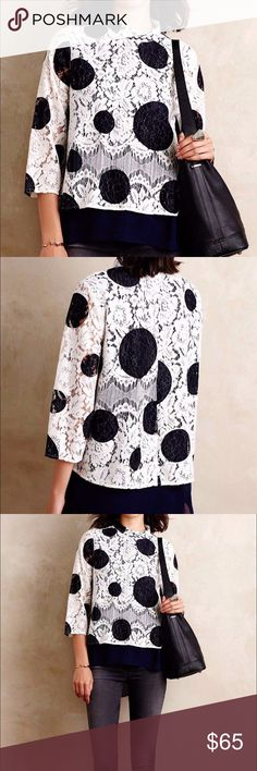 """HD in Paris Blouse Cotton-polyester lace; polyester lining Pullover styling Machine wash Imported Style No. 4110339186867 Dimensions: 23.5""""L Size:4 Anthropologie Tops Blouses"""