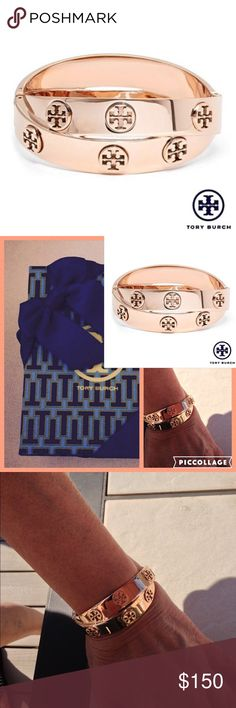 2x HP Tory Burch NWT Bangle  Tory Burch logo cut out studs punctuate two gleaming rose-Goldtone bands intertwined in a chic wrapped style. 18kt rose gold plated stainless steel. Diameter 2.25 inches, hinged closure. Comes with velvet pouch and gift box. Treat yourself or buy as holiday present. MSRP $195 plus tax, check Bloomingdales, Nordstrom...NWT  Firm unless bundled. Tory Burch Jewelry Bracelets