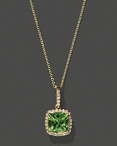 "Diamond And Peridot Pendant In 14K Yellow Gold, 18""   Bloomingdale's"