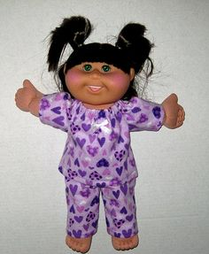Cabbage Patch Doll Purple Hearts Pajamas Perfect by Dakocreations, $14.99