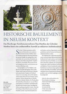 Bericht über uns im:   Heritage Magazin  Die Zeitschrift für historische Häuser und Gärten, Antiquitäten, Denkmalpflege, Restaurierung und Kulturerbe.