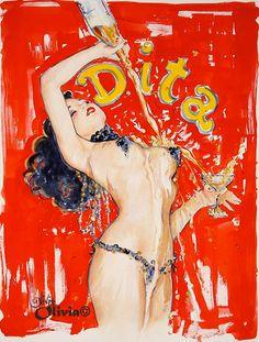 Love Olivia De Berardinis' paintings - especially those of her favorite subject, Ms. Dita von Teese