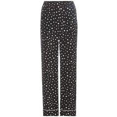 Dolce & Gabbana Polka-Dot Silk Trousers (6.885 RON) ❤ liked on Polyvore featuring pants, black, dot pants, silk pants, silk trousers, dolce gabbana trousers and polka dot pants