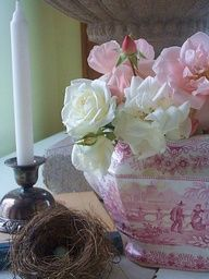 Romantic Heart & Soul - Gorgeous transferware tureen filled with roses! Romantic #vintage style   www.finditforweddings.com