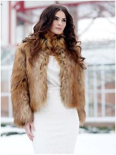"Northern Fox Fashionista Faux Fur Jacket. Runway-inspired, this easy-going 22"" faux fur jacket has texture, authenticity and timeless style.see more pics: www.imageshack.com"