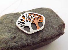 Tree Necklace Layered Silver & Copper by KellyLimbergJewelry