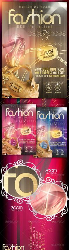 Fashion New Collection Flyer Template $6. *** This flyer / poster is perfect for promoting any type of event such as fashion shows, new collections, boutiques or whatever you want! ***