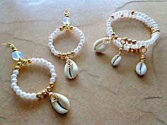 Cowrie Shell and Pearl Jewelry Set  Pearl by KheperaAdornments