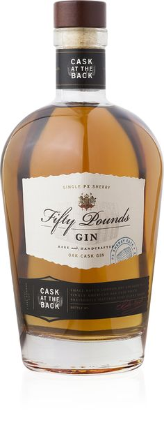 "Fifty Pounds ""Cask at the Back"" is a limited edition gin aged in a Pedro Ximénez sherry cask. Only 500 bottles of this complex gin have been released. Fun Drinks Alcohol, Wine Drinks, London Gin, Strong Drinks, Dry Gin, Scotch Whiskey, Liquor Bottles, Gin And Tonic, Jars"