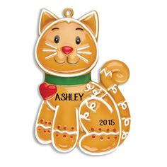 Gingerbread Cat Personalized Christmas Ornament - Pets Ornaments - Personalized Ornaments - Products