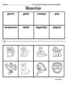 Spanish Cut and Paste Words-Animals