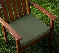 Sunbrella(R) Piped Outdoor Dining Chair Cushion, Fern