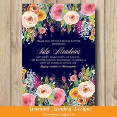 Bridal Shower Invitation Wedding Shower by MermaidMonkeyDesigns #bridalshower #invitation #weddingshower #printable #colorful #floralinvitation