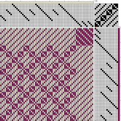 Close-up of Draft for Turned Twill Woven Table Runner, 4 blocks (interlacement view)
