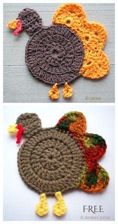 Crochet Applique Patterns Free, Halloween Crochet Patterns, Crochet Coaster Pattern, Crochet Patterns Amigurumi, Crochet Motif, Free Crochet, Crochet Hot Pads, Crochet Cup Cozy, Crochet Fall