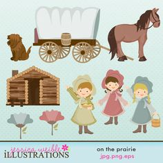 On The Prairie Cute Digital Clipart - Commercial Use Ok - Covered Wagon, Log…