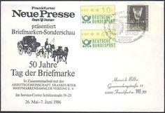 """Germany, ATM 17.10.1986, Bund, Automatenmarken, ATM-Zusammendruck (40+10 Pfg.) mit Beifrankatur, auf portogerechtem Brief mit Sonderstempel """"50 Jahre Tag der Briefmarke"""". Price Estimate (8/2016): 15 EUR."""
