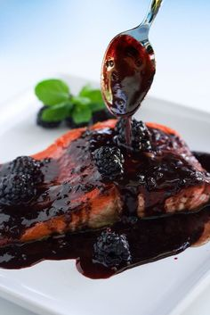Salmon with Blackberry Brandy Sauce ~ http://steamykitchen.com