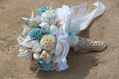 My seashell bouquet! Seashell Bouquet, Beaded Bouquet, Seashell Wedding, Nautical Wedding, Mermaid Wedding, Floral Wedding, Cascading Wedding Bouquets, Bridal Flowers, Bride Bouquets