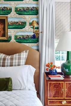"See This New Orleans Ranch's Classic Country Makeover | ""I had almost every Ralph Lauren equestrian thing possible growing up. This room is my tribute to that,"" he says. The wallpaper (Gallop Club; twigswallpaperandfabric.com) makes the horse connection. #decorideas #homedecor #southernliving"