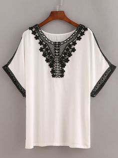 Shop Lace Trimmed Peasant Top - White online. SheIn offers Lace Trimmed Peasant Top - White & more to fit your fashionable needs.