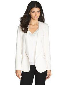 Drape-Front Blazer #White #WhiteHouseBlackMarket #WestfieldUTC https://www.westfield.com/utc/stores/all-stores/white-house-black-market/50620