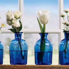 Dazzling Blue Glass Vases