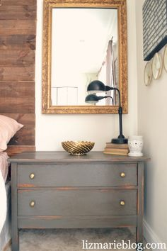 love the color of the dresser nightstand, and reclaimed wood nailed directly to the wall for the headboard!