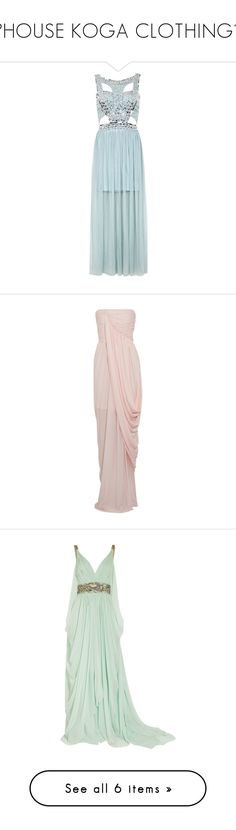 """""""🔸HOUSE KOGA CLOTHING🔸"""" by gotislife1223 ❤ liked on Polyvore featuring dresses, gowns, vestidos, long dresses, mint green, sequin gown, blue gown, blue ball gown, blue long dress and long sequin dress"""