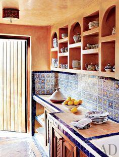 Kitchen Moroccan Style Kitchen Decor Ideas Blue Pattern Backsplash Tile Beige Stained Wall Flushmount Light Beige Ceramic Countertop Wooden Shalves Lovely Moroccan Kitchen Decor