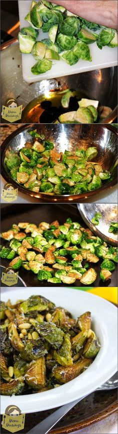 Balsamic Roasted Brussels Sprouts with Pine Nuts and Parmigiano Reggiano....