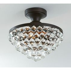 Pottery Barn Callia Crystal Drop Semi-Flushmount Ceiling Fixture featuring polyvore, home, lighting, ceiling lights, flushmount ceiling lights, pottery barn, pottery barn ceiling lights, flush mount lamp and handmade lamps