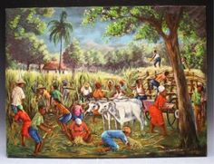 Joseph Thony Moise Ptg. of Farming Scene Haitian : Lot 392