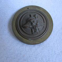 Antique Bronze Fox Head Paperweight, Medallion