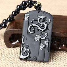 Black Obsidian Carved Ancient Dragon Lucky Amulet Pendant With Free Bead Necklace; Men Jewelry;
