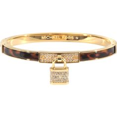 Michael Kors Armband Brilliance Padlock (500 BRL) ❤ liked on Polyvore featuring jewelry, bracelets, michael kors jewelry, tortoise shell bracelet, steel bangle, michael kors bracelet and armband bracelet