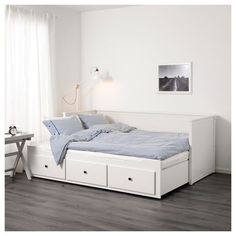 IKEA HEMNES Day-bed frame with 3 drawers White cm With some fluffy, soft pillows as back support, you easily transform this day-bed into a. Painted Beds, Painted Drawers, Cama Ikea Hemnes, Lit Banquette 2 Places, Cama Murphy Ikea, Murphy Beds, Murphy Bed Desk, Hemnes Day Bed, Day Bed Frame