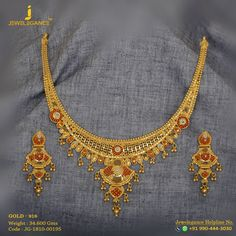 Gold 916 Premium Design Get in touch with us on Gold Necklace Simple, Gold Jewelry Simple, Gold Choker Necklace, Gold Necklaces, Bridal Necklace, Necklace Set, Earrings, Gold Mangalsutra Designs, Gold Jewellery Design