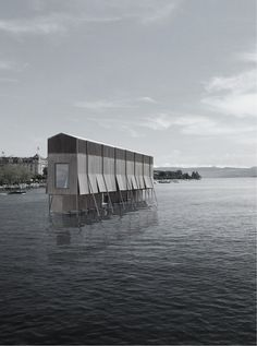 Rising from the limpid depths of Lake Zurich, Jan Zachmann's restaurant beckons to potential diners on the shore Section Drawing Architecture, Water Architecture, System Architecture, Architecture Collage, Architecture Student, Architecture Details, Architect Design, Spas, Lakes