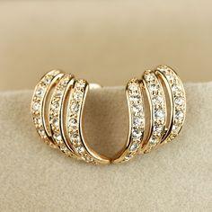 Ol cuicanduomu stud earring three rows of diamond no pierced clip-on earrings accessories jewelry r303 on AliExpress.com. $13.86