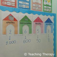 ΑΞΙΑ ΘΕΣΗΣ ΨΗΦΙΩΝ Math Place Value, Place Values, Tens And Ones, Third Grade Math, Math Numbers, Teaching Math, Maths, School Projects, Classroom Decor
