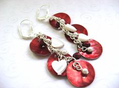 Boho Style Red Shell Earrings, Whimsical Heart Jewelry, Mussel Shell Earrings, Red and White Earrings, Fancy Shell Jewelry, Heart Jewelry