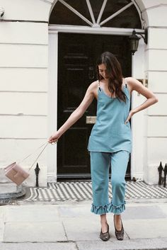 Dylana Lim Suarez wearing Mother of Pearl Alberta denim shift top and Finley denim trouser with frill cuff from SS17 collection#motherofpearl #streetstyle #london #fashion #denim #denimlook #dylanasuarez