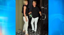 The perfect match! Ellen DeGeneres and Portia de Rossi step out for a dinner date in twin black-and-white outfits Ellen Degeneres And Portia, Ellen And Portia, Cute Celebrities, Celebs, Portia De Rossi, The Ellen Show, Best Couple, Couple Style, Beautiful Couple