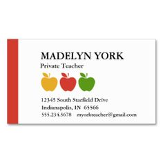 Substitute Teacher Business Card Template | ... /cute-apple-blue ...