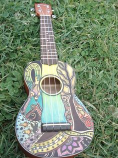 ukelele: Duke accompanies Allegory with his delightful ukelele playing Ukulele Art, Guitar Art, Ukelele Painted, Painted Guitars, Ukulele Design, Guitar Painting, Guitar Collection, Beautiful Guitars, Zen Doodle