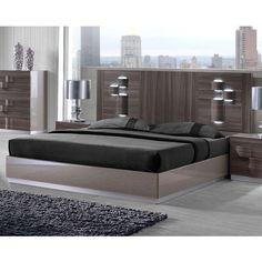 Adel Zebra Wood Grey High Gloss 5pc Bedroom Set w/Queen Platform Bed ...