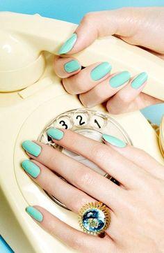 Cute Blue Nail Design 2014